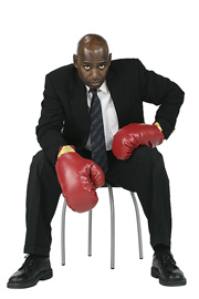 Boxing man in suit