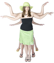 Multi-task (woman w:many arms)
