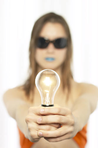Quirky woman with lightbulb-w500-h500