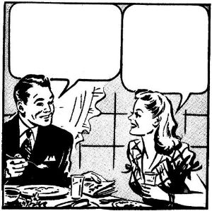 Couple dinner empty speech balloons-w500-h500-w300-h300