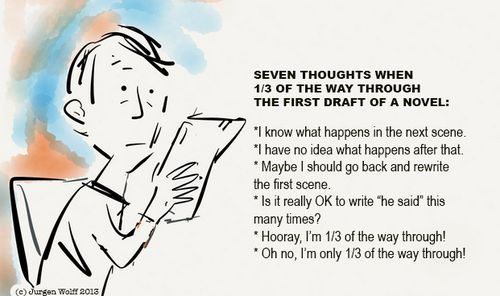 Seven thoughts writer's life toon