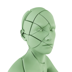 Graphic cracked bust of head depression