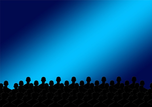 Graphic silhouette of audience small
