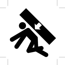 Graphic icon load falling on man