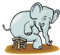 Graphic cartoon elephant sitting