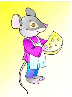 Graphic cartoon mouse with cheese snack