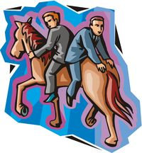 Wrong way horse 2 riders