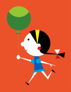 Graphic cartoon girl with balloon