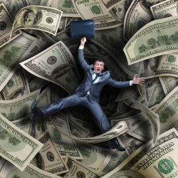 Man falling into money