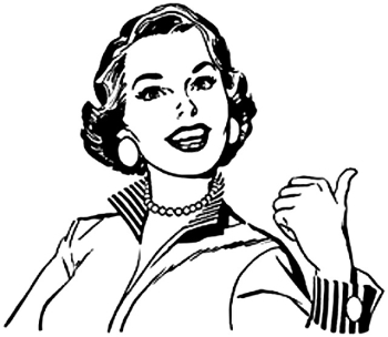 Graphic clip art 50's woman jerking her thumb