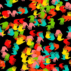 Graphic colorful hands pattern