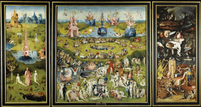 Graphic bosch's Garden of Earlthy Delights painting