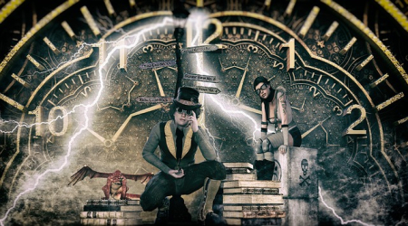 Graphic photo steampunk big clock with people-2819946_640