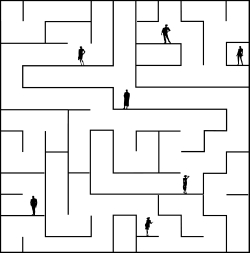 Maze b & W illo with small silhouette people