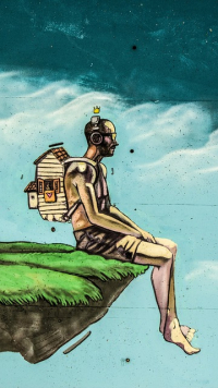 Graphic fantasy man sitting with house on back graffiti-1224886_640