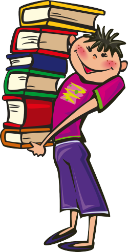 Graphic cartoonboy with stack of books-160174_1280