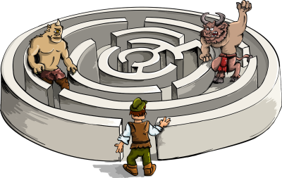 Graphic cartoon maze withminotaur-2897115_1280
