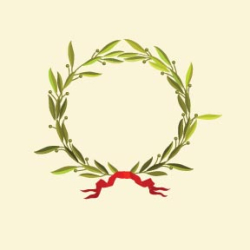 Graphic laurel wreath with red ribbon