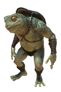 Grpahic frog-soldier or backpacker